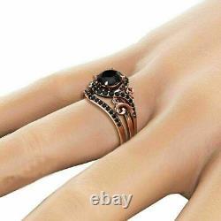 2.50Ct Round Cut Black Diamond Bridal Set Engagement Ring 14k Rose Gold Finish