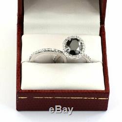 2.65Ct Oval Cut Black Diamond Bridal Set Engagement Ring 14K White Gold Finish