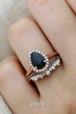 2.65Ct Pear Cut Black Diamond Bridal Set Engagement Ring 14K Rose Gold Finish