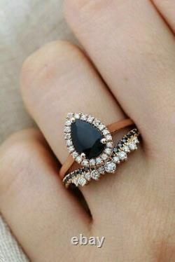 2.65Ct Pear Cut Black Diamond Bridal Set Engagement Ring in 14K Rose Gold Finish