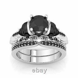 2.75Ct Black Diamond Skull Engagement Wedding Ring Set In 14K White Gold Finish