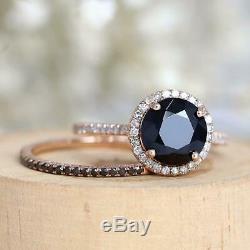 2.90Ct Round Black Diamond Bridal Set Halo Engagement Ring 14K Rose Gold Finish