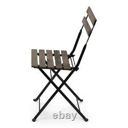 2 PACK French Bistro Style Folding Metal Chair Set with Slated Natural Wood Finish