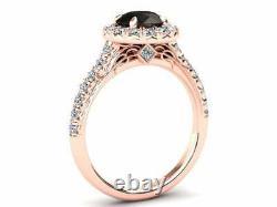 2ct Round Cut Black Diamond Engagement Ring Halo Bridal Set 14k Rose Gold Finish
