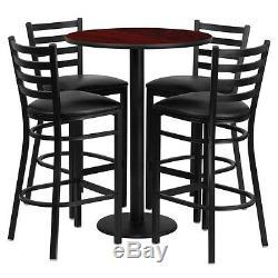 30'' Round Mahogany Finish Bar Height Laminate Table Set with 4 Metal Bar Stools