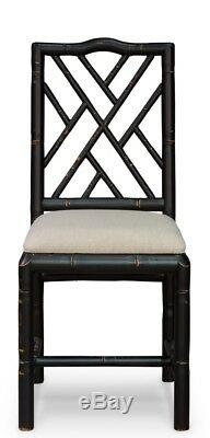 39 H Set of Two Bamboo Dining Chair Birch Wood Black Finish Linen Fabric