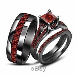 3CT Red Garnet 14k Black Gold Finish Bridal Band Wedding His & Her Trio Ring Set