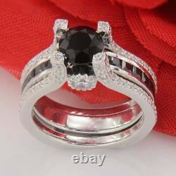 3Ct Black Diamond Bridal Wedding Set Engagement Ring 14k White Gold Finish