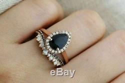 3Ct Pear Cut Black Diamond Halo Bridal Set Engagement Ring 14K Rose Gold Finish