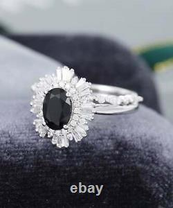 3.10Ct Oval Cut Black Diamond Bridal Wedding Ring Set Ring 14K White Gold Finish