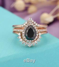 3.15 Carat Pear Cut Diamond Halo Bridal Engagement Ring Set 14K Rose Gold Finish