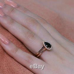 3.25 Ct Pear Cut Black Diamond Bridal Set Engagement Ring 14K Yellow Gold Finish