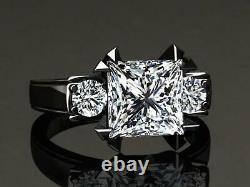 3.50Ct Princess Cut Diamond Bridal Set Engagement Ring 14K Black Gold Finish