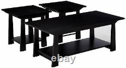 3-Piece Kings Brand Casual Coffee Table & 2 End Tables Occasional Set, Black