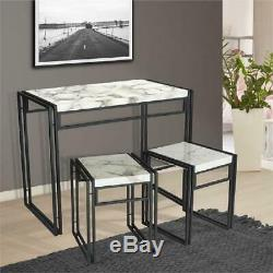 3-Piece Marble Finish Table and Chair Set Home Dining Room Bistro Furniture Unit