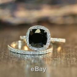 3ct Cushion Black Diamond 14k White Gold Finish Engagement Bridal Ring set