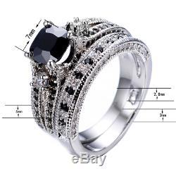 3ct Cushion Black Diamond Engagement Ring 14k White Gold Finish Split Bridal Set