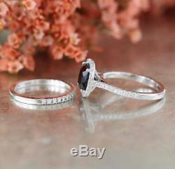 4Ct Cushion Cut Black Diamond Bridal Set Halo Ring Band 14K White Gold Finish