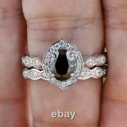 4Ct Oval Cut Black Diamond Bridal Halo Engagement Ring Set 14K White Gold Finish