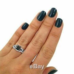 4Ct Princess Cut Black Diamond Bridal Set Engagement Ring 18K White Gold Finish