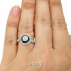 4Ct Round Cut Black Diamond Pave Set Halo Engagement Ring 14K White Gold Finish