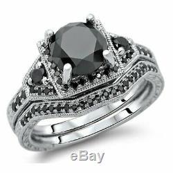4Ct Round Cut Black Diamond Vintage Bridal Set Ring Band 14K White Gold Finish