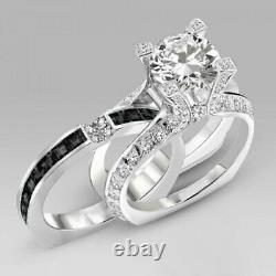 4Ct Round Cut Diamond Bridal Set Unique Band Inside Ring 14K White Gold Finish