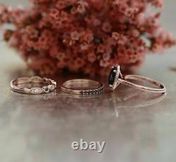 4 Ct Oval Cut Black Diamond Halo Engagement Trio Ring Set 14K Rose Gold Finish