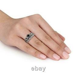 4ct Round Cut Black Diamond Bridal Set Vintage Ring Band 14k White Gold Finish