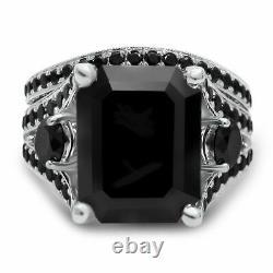 5Ct Emerald Cut Black Diamond Accents Milgrain Bridal Set 14K White Gold Finish