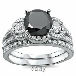 5Ct Round Cut Black Diamond Bridal Set Engagement Ring 14K White Gold Finish