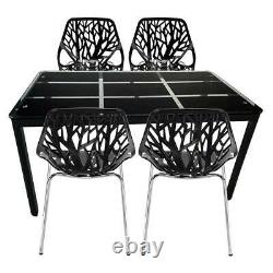 5PCS Dining Set Armchair Plastic Lounge Chairs and Rectangle Glass Dining Table