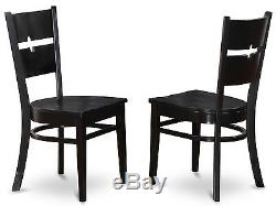5PC SET ROUND KITCHEN TABLE with 4 WOOD SEAT CHAIRS IN BLACK FINISH