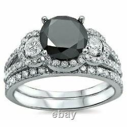 5.5ct Round Cut Black Diamond Bridal Set Engagement Ring 14K White Gold Finish