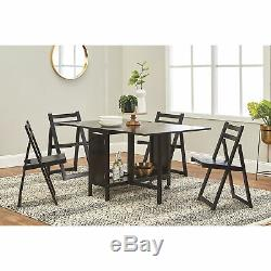 5-Pc. Space-Saving Dining Set 1 Table and 4 Chairs, Black Finish