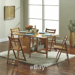 5-Pc. Space-Saving Foldable Portable Dining Set- 1 Table & 4 Chairs, Oak Finish