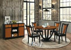 5 Pc Two Tone Amber & Black Finish Vinyl Chairs Dining Table Furniture Set