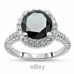 5ct Round Cut Black Diamond Pave Set Halo Engagement Ring 14k White Gold Finish