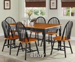 7 pc Dining Set Chairs Black Oak Finish Table Kitchen Room Furniture Chair Sets