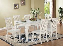 7pc set rectangular dinette dining table with 6 wood seat chairs in black finish