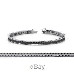 8.99Ct Black Diamond Channel Set Tennis Bracelet 14K White Gold Finish in 6.75