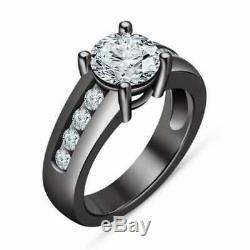 925 Silver Round-Cut Diamond Bridal Set Engagement Ring 14k Black Gold Finish