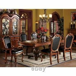 ACME Chateau de Ville Black PU Cushion Arm Chair, Cherry Finish, Set of 2