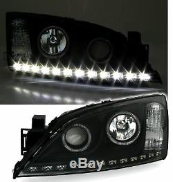 ANGEL EYES HEADLIGHTS SET for FORD MONDEO MK3 00-07 LED DRL in BLACK Finish