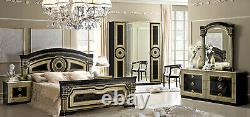 Aida Italian Bedroom Set in Black and Gold Finish 5 Piece Queen Size