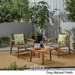 Alyssa Outdoor 3 Piece Wood and Wicker Club Chairs and Side Table Set