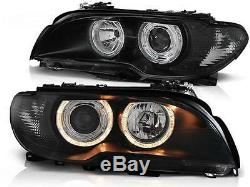 Angel Eyes HALO Headlight Set FOR BMW E46 Coupe Cabrio 03-06 Clear Black finish