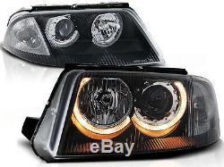 Angel Eyes Headlights Set FOR VW Passat B5 Facelift 00-05 in black clear finish