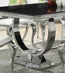 Art Deco Chrome Finish Dining Room Rectangular Black Glass Table Chairs Set IC73