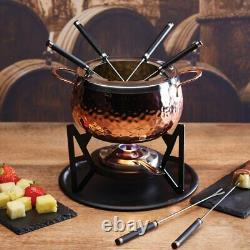 Artesa Fondue Set with Hammered Copper Finish in Gift Box, Stainless Steel, 6